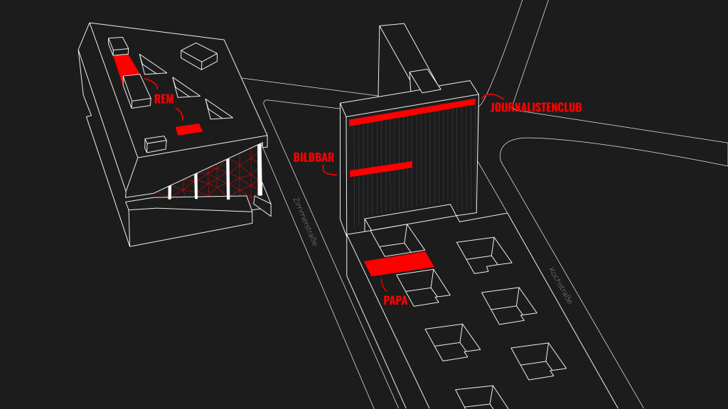 Lageplan für die Restaurants von PACE im Axel Springer Altbau